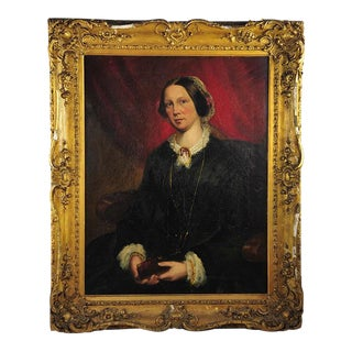 """Victorian Oil & Canvas Portrait of an English Lady in Ornate Gilt Frame - 38""""W x 45""""T"""
