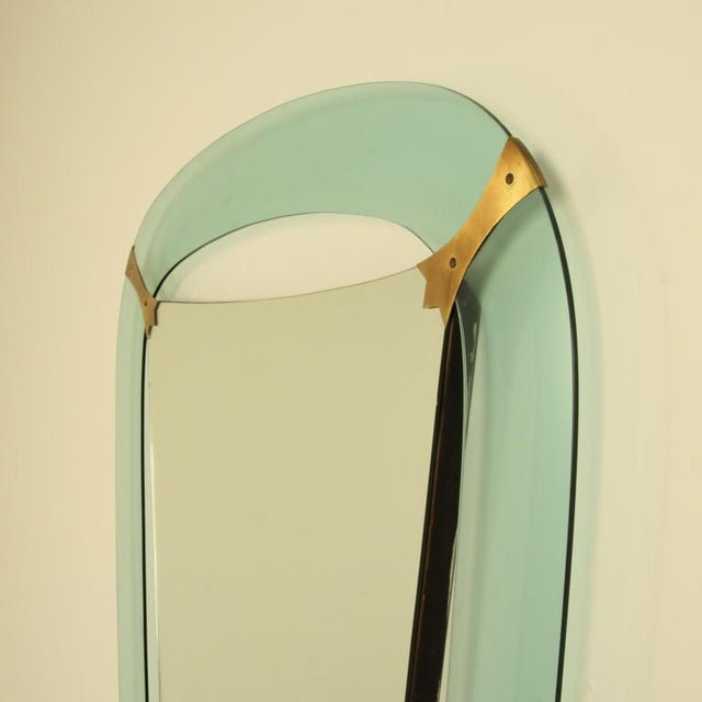 Image of XL Crystal Art Green Glass Dressing Wall Mirror, Italy, 1950s