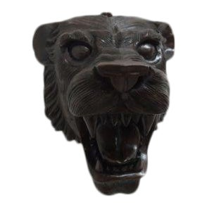 Hand Carved Mahogany Lion Tiger Head Wall Mount