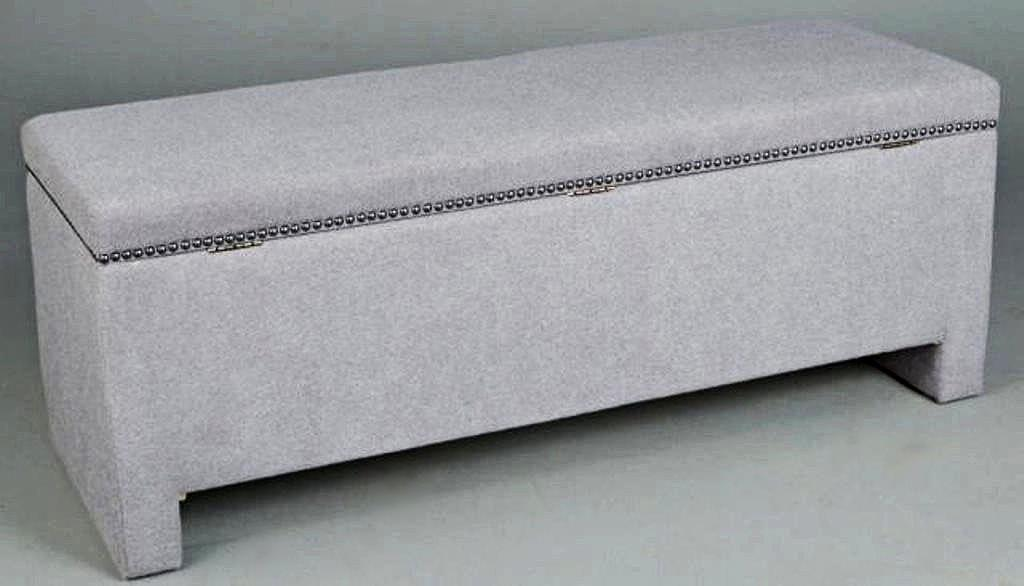 image of grey upholstered storage bench