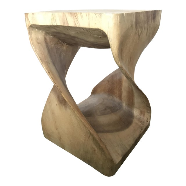 Twisting Natural Wood Stool - Image 1 of 5