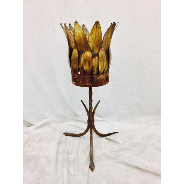 Antique Gold Tole Planter - Image 3 of 11