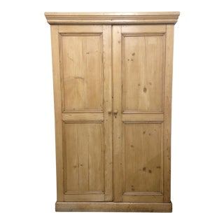 Antique Unpainted Rustic Pine Armoire