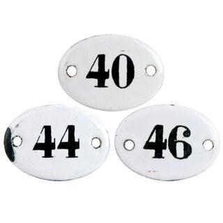 Vintage French Enamel Hotel Room Numbers - Set of 3