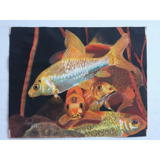 Vintage Koi Fish Original Pastel Framed - Image 2 of 6