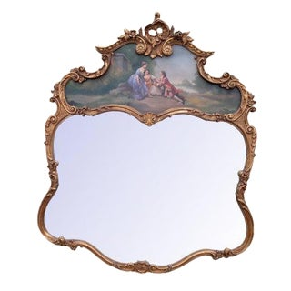 French Gilt Carved Painted Italian Trumeau Mirror