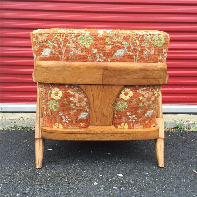 Mid-Century Orange Floral Lounger - Image 9 of 10