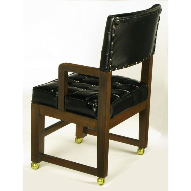Black Button Tufted Mahogany Frame Desk Chair - Image 4 of 8