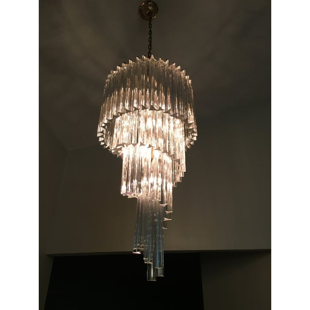 Vintage Spiral Glass Chandelier with Tri-Points - Image 2 of 4