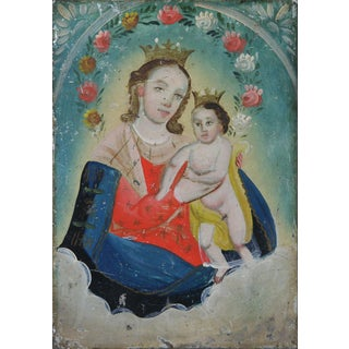 Virgin Mary and Child Retablo Mounted in Gilded Frame, Mexican