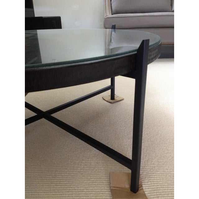 Modern Crate & Barrel Copper & Metal Coffee Table - Image 8 of 10