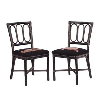 Rattan Needlepoint Seat Chairs - Pair