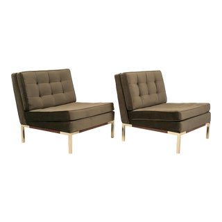 Pair of Lee Woodard Slipper Chairs with Walnut and Brass Base