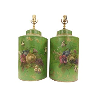 Chinese Export Hand-Painted English Floral Round Tea Caddy Lamps - A Pair