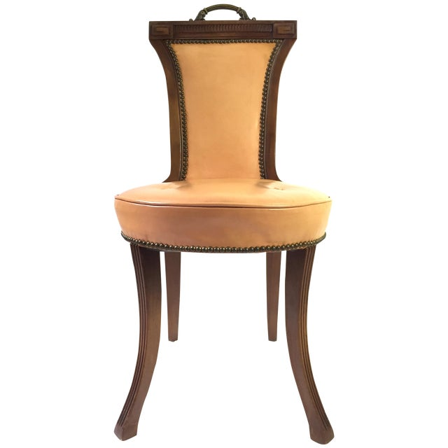 Regency Style Brass Handle Leather Chair - Image 1 of 8
