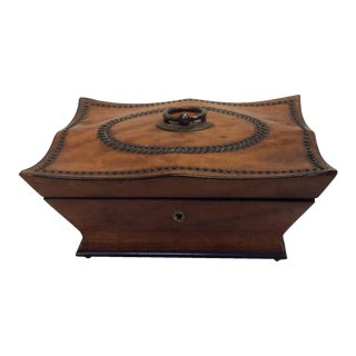 Antique Box With Tack Work Decorations