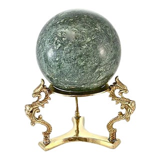 Green Marble Sphere with Brass Stand