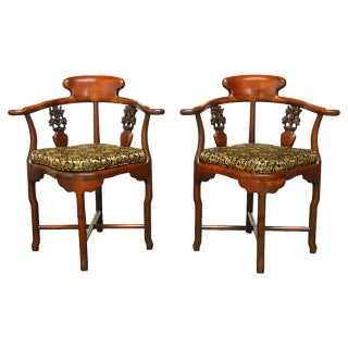 Chinese Rosewood Corner Chairs - Pair
