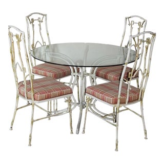 Chinoiserie Metal Faux Bamboo Patio Dining Set