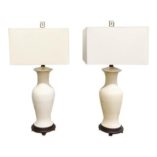 Mid Century Ivory Crackle Glaze Lamps - a Pair