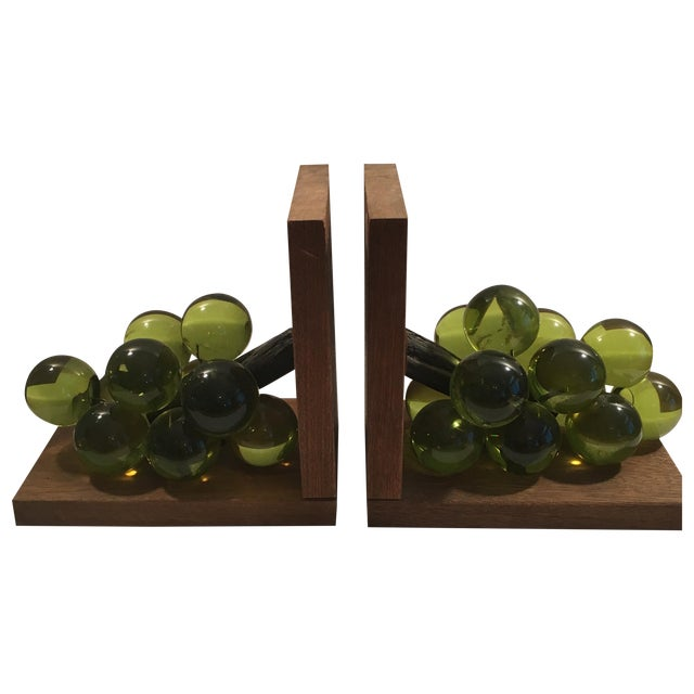 Vintage Lucite Grape Bookends - A Pair - Image 1 of 5