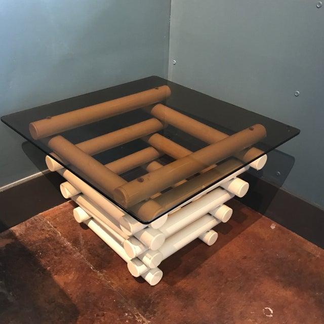 White Tubular Metal Side Table - Image 2 of 7