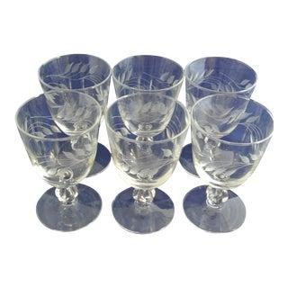Antique Etched Crystal Wine Glasses - Set of 6