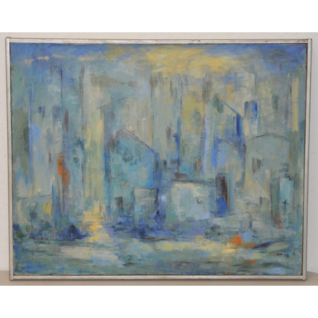 Mid Century Modern Abstract Cityscape by Mary Carey c.1950s - Image 7 of 7