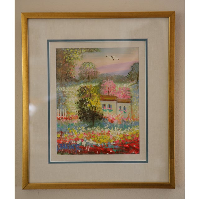 Gold Framed Painting: Little House in a Garden - Image 2 of 4
