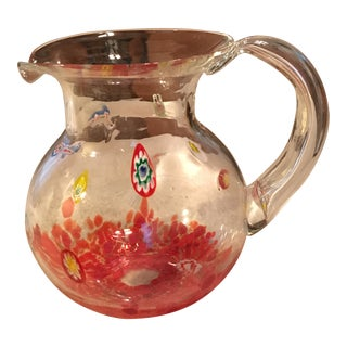 Clear Multicolor Hand Blown Art Glass Pitcher