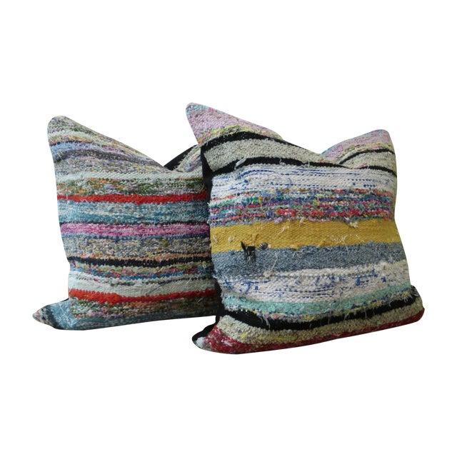 Vintage Kilim Rag Rug Pillows - A Pair