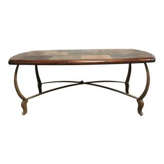 Traditional Granite Wood & Iron Coffee Table