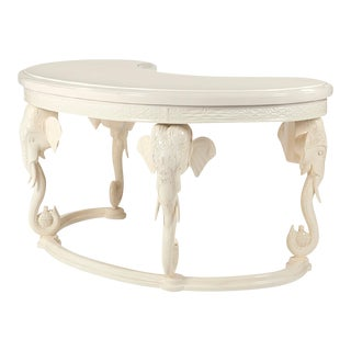 Gampel Stoll Hollywood Regency Lacquered Carved Elephant Desk