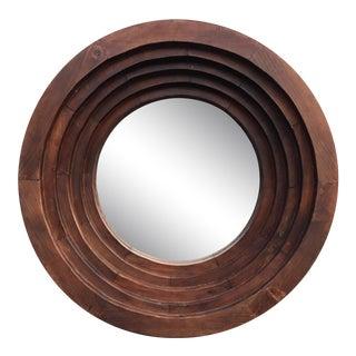 Round Wooden Wall Mirror