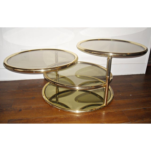 Mid-Century Brass Swivel Tiered Coffee Table Round