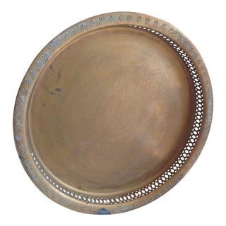 Bohemian-Etched Vintage Brass Tea Tray