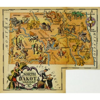 Vintage North Dakota Pictorial Map, 1946