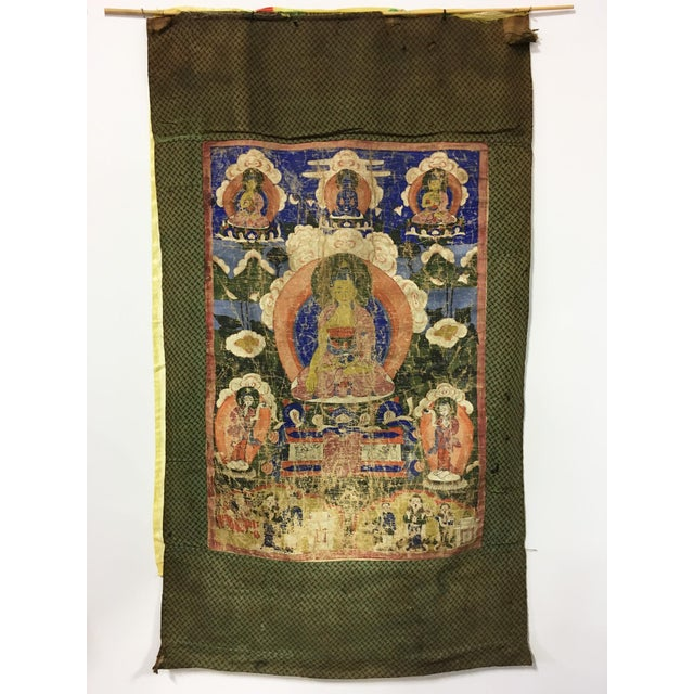 Tibetan Thanka Painted Wall Hanging, Mid 19th Century - Image 2 of 7
