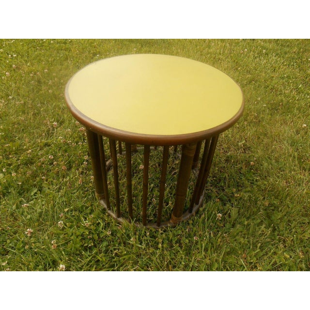 Mid-Century Calif-Asia Round Rattan End Table - Image 2 of 4