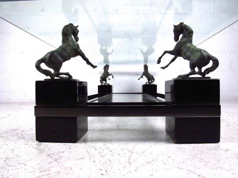 Unique Mid Century Sculptural Horse Coffee Table Attributed To Maison  Charles   Image 4 Of