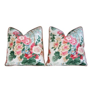 Lee Jofa Hollyhock Spring Floral Pillows - Pair