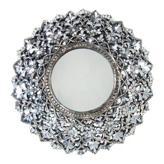 Transitional Round Hand Cut Glass Mirror