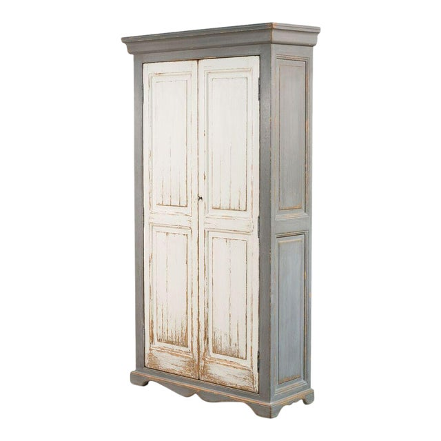Sarreid Ltd Rustic White & Gray Painted Tall Cabinet - Image 1 of 4