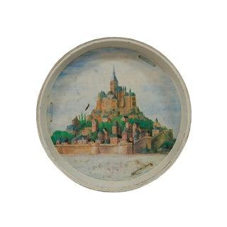 Castle Motif Round Tole Tray