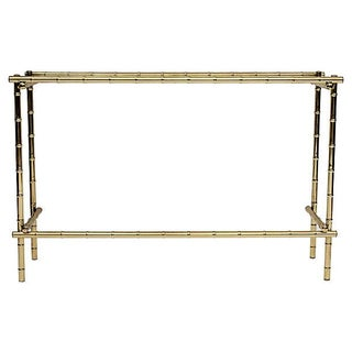 Bamboo-Style Gold Console Table