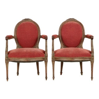 Vintage French Louis XVI Style Gray Painted Fauteuil Arm Chairs - a Pair