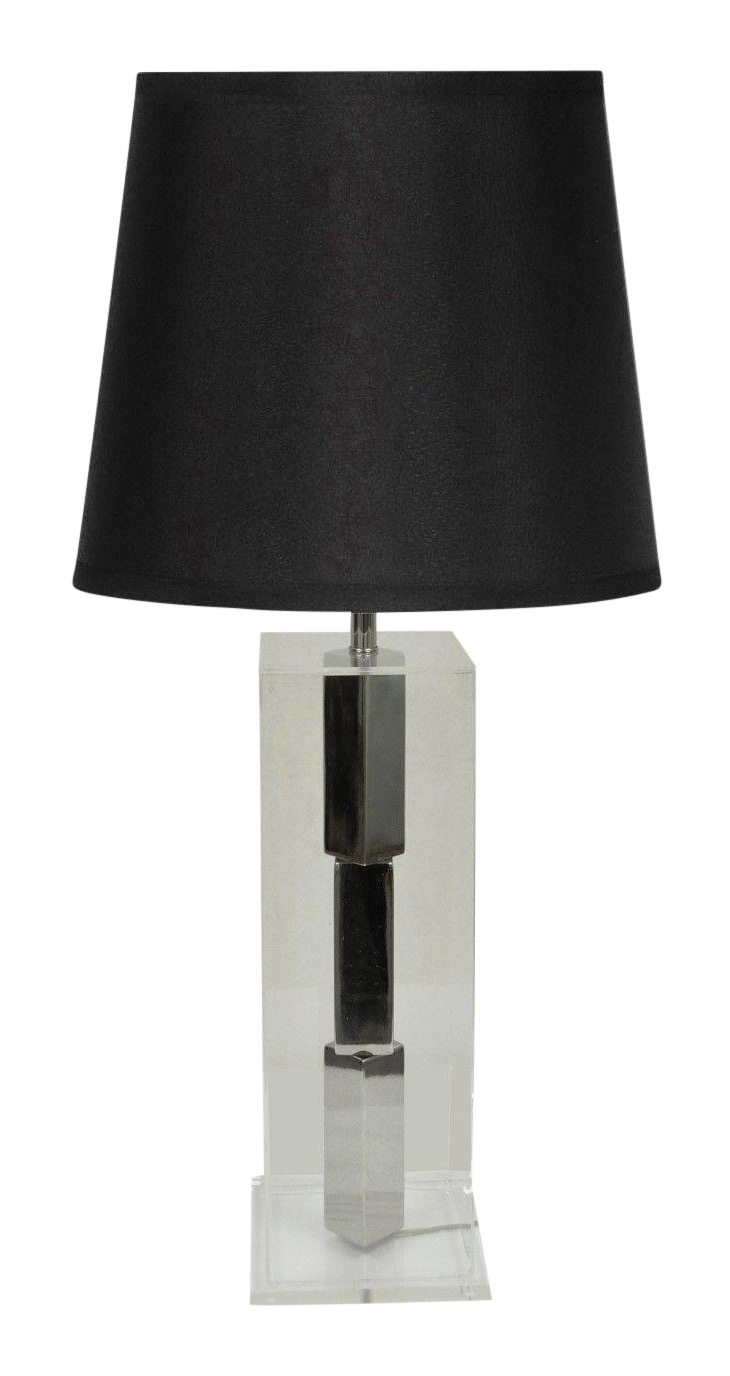 Vintage Mid Century Modern Laurel Stacked Chrome Cube Lucite Table Lamp