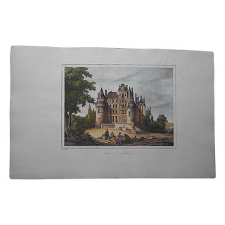 Antique Chateaux De France Lithograph