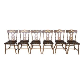 1981 L. B. Ebersol Maple Paint Decorated Side Chairs - Set of 6