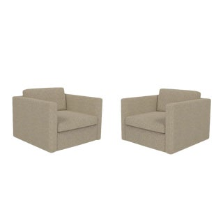 Knoll Upholstered Tuxedo Arm Club Chairs - A Pair